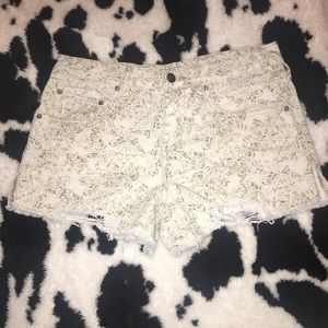 Free People Paisley Print Distressed Jean Shorts